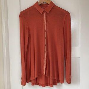 We the Free Salmon Nubby Cotton Overshirt Tunic